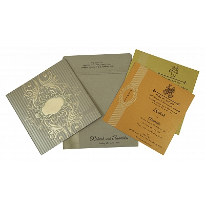 Khaki Shimmery Box Themed - Foil Stamped Wedding Invitation : AG-1782 - A2zWeddingCards