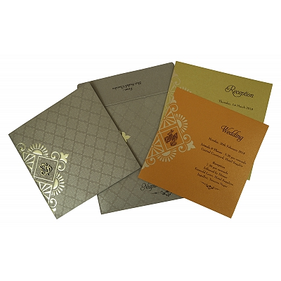 Khaki Shimmery Box Themed - Foil Stamped Wedding Invitation : ASO-1791 - A2zWeddingCards