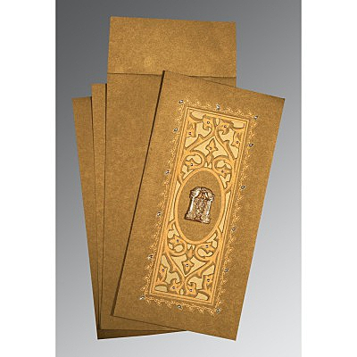 Khaki Shimmery Embossed Wedding Invitations : ASO-1440 - A2zWeddingCards