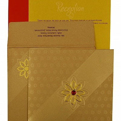 Khaki Shimmery Floral Themed - Foil Stamped Wedding Invitation : AIN-1891