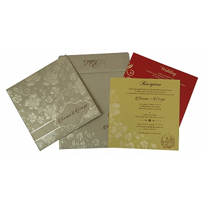 Khaki Shimmery Floral Themed - Foil Stamped Wedding Invitation : AG-1785 - A2zWeddingCards