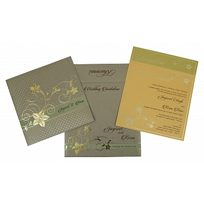Khaki Shimmery Floral Themed - Foil Stamped Wedding Invitations : ARU-1776 - A2zWeddingCards