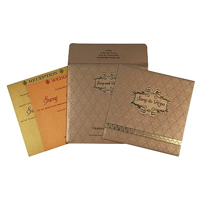 Khaki Shimmery Foil Stamped Wedding Card : AIN-1713