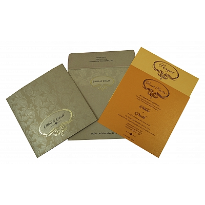 Khaki Shimmery Foil Stamped Wedding Invitation : ASO-1816 - A2zWeddingCards