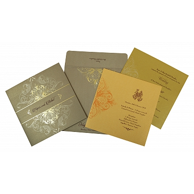 Khaki Shimmery Paisley Themed - Foil Stamped Wedding Invitation : AG-1806 - A2zWeddingCards