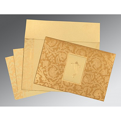 Khaki Shimmery Pocket Themed - Embossed Wedding Invitation : AIN-1434