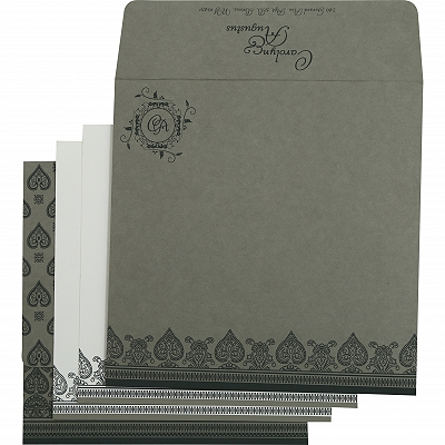 Light Grey Matte Screen Printed Wedding Invitation : AIN-809A