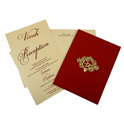 Maroon Satin Box Themed - Wedding Invitation : AIN-1845