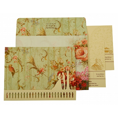 Off White Matte Floral Themed - Offset Printed Wedding Invitation : AIN-1932