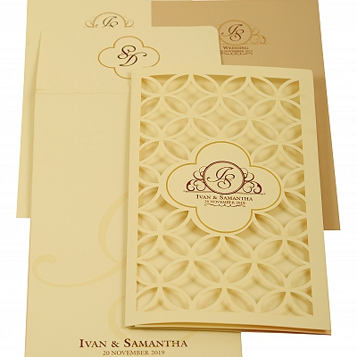 Off White Matte Laser Cut Wedding Invitation : AIN-1911