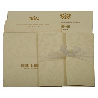 Off White Matte Paisley Themed - Embossed Wedding Invitation : AIN-1913