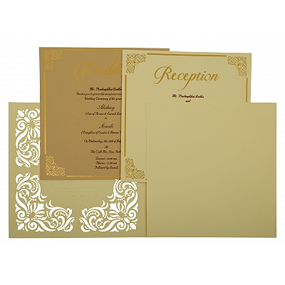 Off White Matte Paisley Themed - Laser Cut Wedding Invitation : AIN-1875