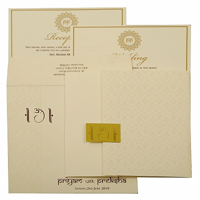 Off White Matte Paisley Themed - Screen Printed Wedding Invitation : AIN-1881