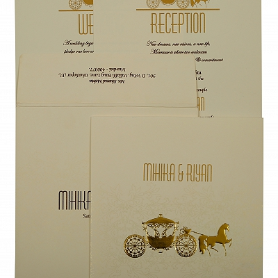 Off White Matte Screen Printed Wedding Invitation : AIN-1896