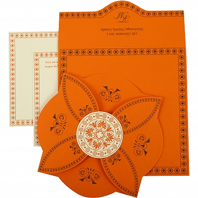 Orange Butterfly Themed - Screen Printed Wedding Invitation : AIN-820A