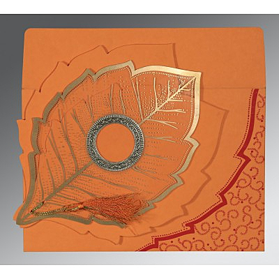 Orange Handmade Cotton Floral Themed - Foil Stamped Wedding Card : AW-8219B - IndianWeddingCards