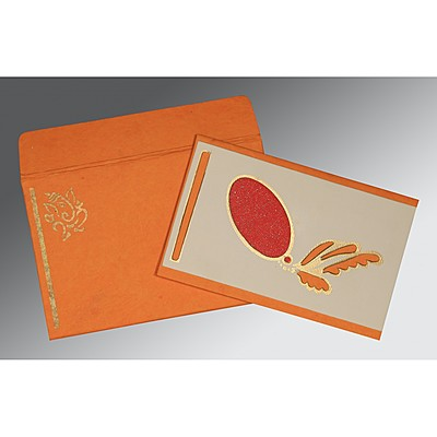 Orange Handmade Cotton Screen Printed Wedding Card : AIN-2251