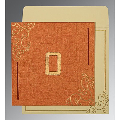 Orange Handmade Shimmer Embossed Wedding Invitations : AD-1236 - A2zWeddingCards