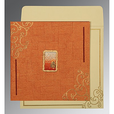 Orange Handmade Shimmer Embossed Wedding Invitation : AIN-1236