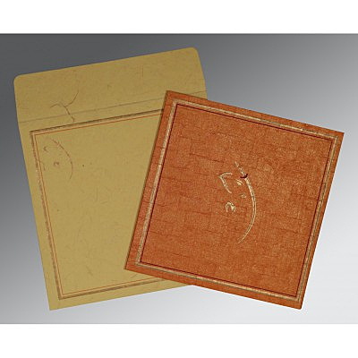 Orange Handmade Shimmer Embossed Wedding Invitations : AIN-2177 - A2zWeddingCards