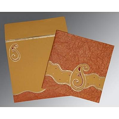Orange Handmade Shimmer Embossed Wedding Card : AIN-2248