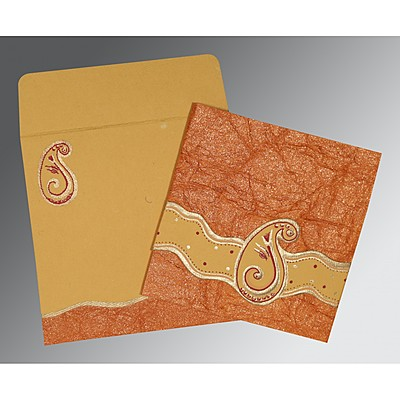 Orange Handmade Shimmer Embossed Wedding Invitation : AIN-2252