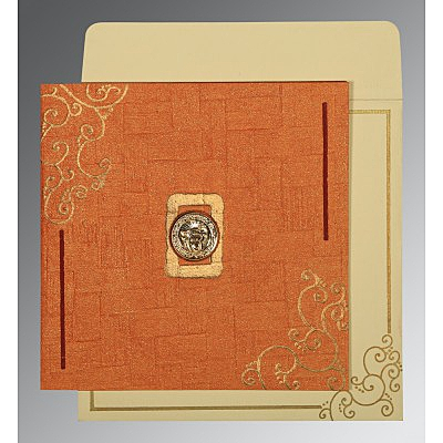 Orange Handmade Shimmer Embossed Wedding Invitation : ARU-1236