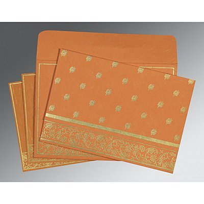 Orange Handmade Silk Screen Printed Wedding Card : ARU-8215L - IndianWeddingCards