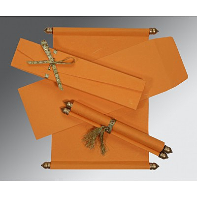 Orange Handmade Silk Wedding Card : ASC-5001H - IndianWeddingCards