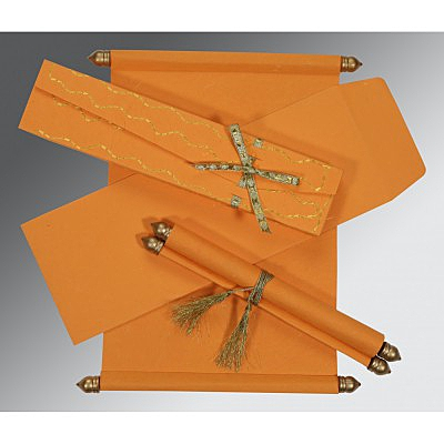 Orange Handmade Silk Wedding Card : ASC-5002A - A2zWeddingCards