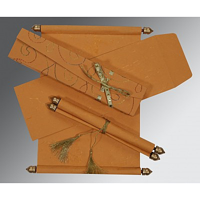 Orange Handmade Silk Wedding Card : ASC-5002L - IndianWeddingCards
