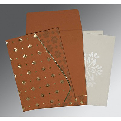 Orange Matte Floral Themed - Foil Stamped Wedding Invitation : AC-8237J - IndianWeddingCards