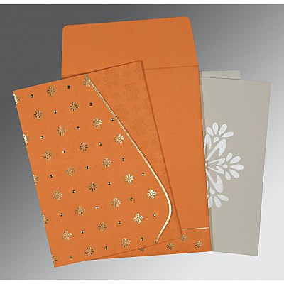 Orange Matte Floral Themed - Foil Stamped Wedding Invitation : AG-8237K - IndianWeddingCards