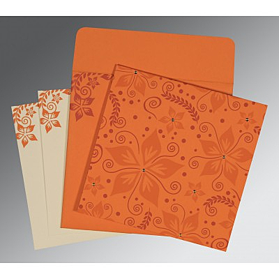Orange Matte Floral Themed - Screen Printed Wedding Invitation : AC-8240K - IndianWeddingCards