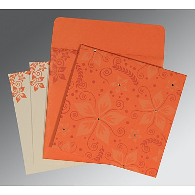 Orange Matte Floral Themed - Screen Printed Wedding Invitation : AI-8240M - IndianWeddingCards