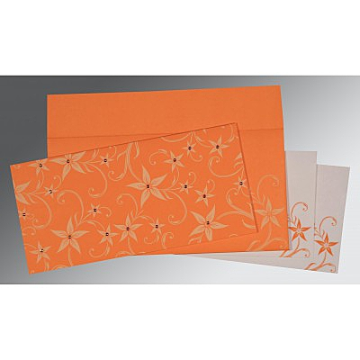 Orange Matte Floral Themed - Screen Printed Wedding Invitation : AW-8225L - IndianWeddingCards