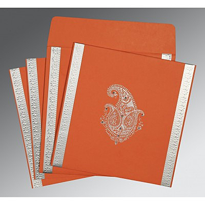 Orange Matte Paisley Themed - Embossed Wedding Invitation : AI-8231M - IndianWeddingCards