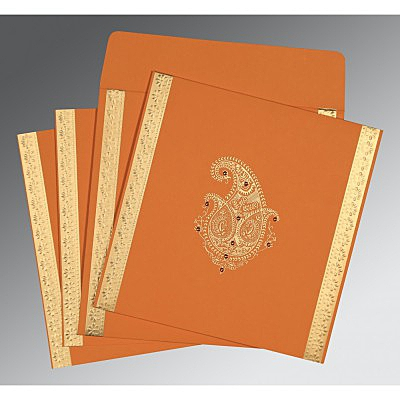 Orange Matte Paisley Themed - Embossed Wedding Invitation : AI-8231N - IndianWeddingCards