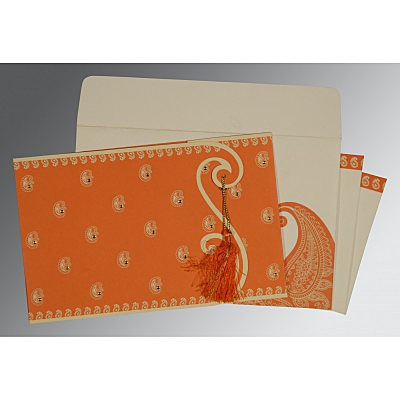 Orange Matte Paisley Themed - Screen Printed Wedding Invitation : AI-8252D - IndianWeddingCards