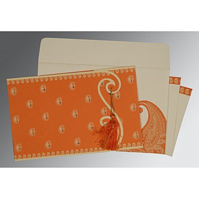 Orange Matte Paisley Themed - Screen Printed Wedding Invitation : ASO-8252D - IndianWeddingCards
