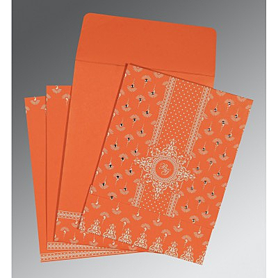 Orange Matte Screen Printed Wedding Invitations : AC-8247I - A2zWeddingCards
