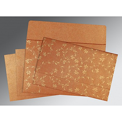 Orange Shimmery Floral Themed - Screen Printed Wedding Invitation : AG-8226E - IndianWeddingCards