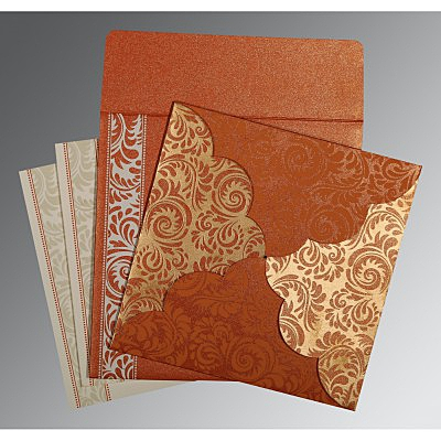 Orange Shimmery Floral Themed - Screen Printed Wedding Card : AG-8235G - IndianWeddingCards