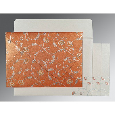 Orange Shimmery Floral Themed - Screen Printed Wedding Invitation : AG-8248E - IndianWeddingCards