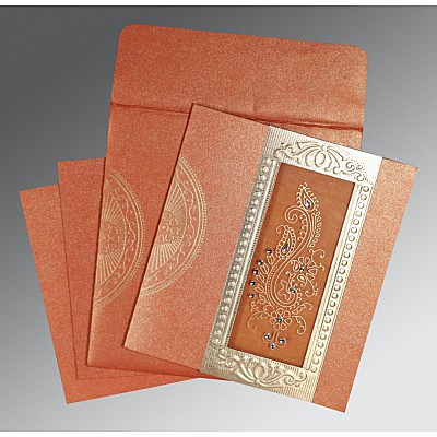Orange Shimmery Paisley Themed - Foil Stamped Wedding Invitation : AC-8230T - IndianWeddingCards