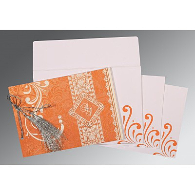 Orange Shimmery Screen Printed Wedding Card : ASO-8223K - IndianWeddingCards