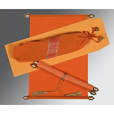 Orange Velvet Wedding Invitation : ASC-5004I - IndianWeddingCards