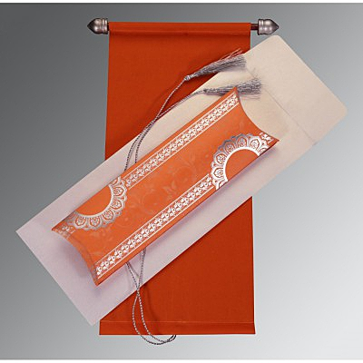 Orange Velvet Wedding Card : ASC-5010J - A2zWeddingCards