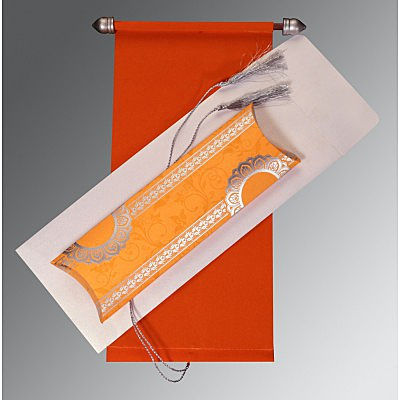 Orange Velvet Wedding Card : ASC-5010K - A2zWeddingCards