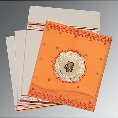 Orange Wooly Embossed Wedding Invitation : AC-8202B - A2zWeddingCards